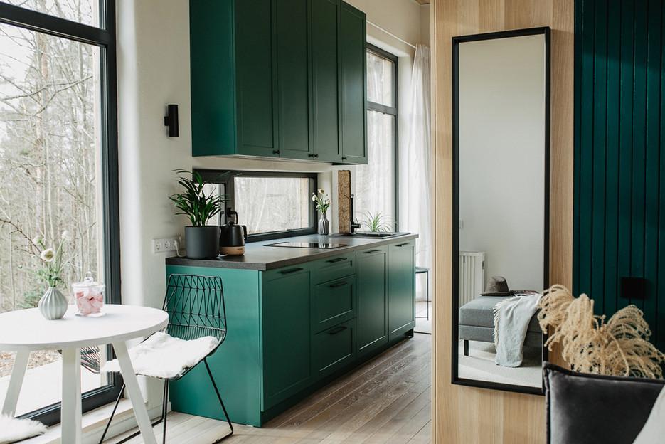 Tiny Hemp House - virtuvėlės zona