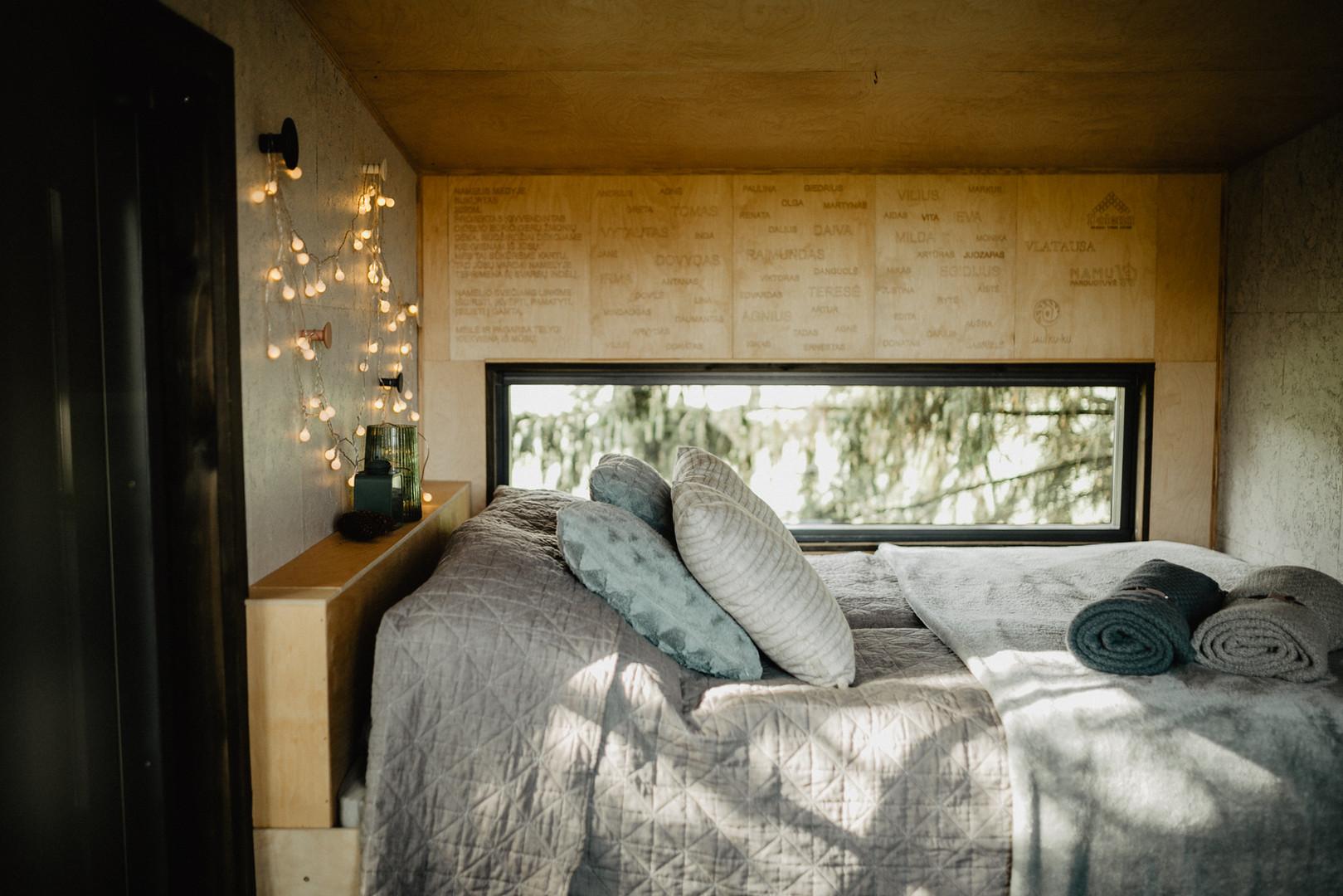 Paukščių namelis medyje - interjeras