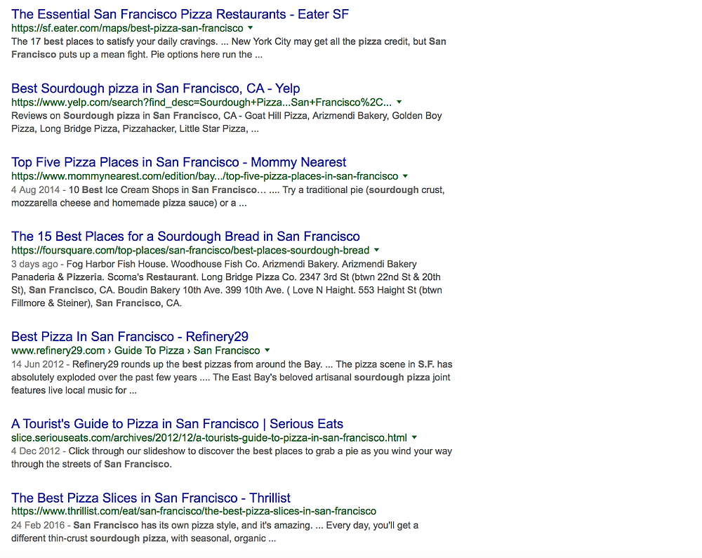 San Fran Google SERPs