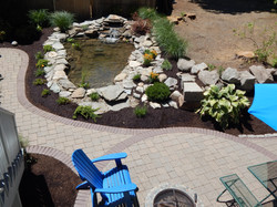 Natural Stone Pond with Pavers