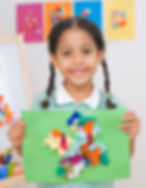 Child with art project