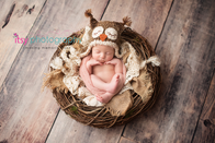 Newborn photographer, baby photography, infant photography, newborn girl, Owl hat, nest, basket, lace, burlap, wooden floor backdrop, pink wrap, baby wrapping, newborn posing ideas