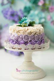 baby photographer, one year old, girl, cake smash, garden,  rosette cake, lavender