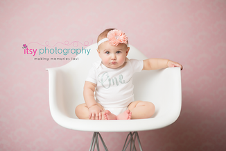 Newborn photographer, baby photography, infant photography, One year old, Sitter Session, lace, happy birthday, cake smash, pink flower headband, baby girl, pink back drop, white chair