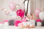 Cake smash, one year old girl, baby girl, baby photographer, newborn photographer, infant photographer,  balloons, hot pink, white, grey, crown, pink rosette cake