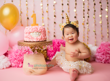 Baby Girl Pink and Gold Unicorn Cake Smash ~ DC, VA, MD Newborn Baby Family Photographer