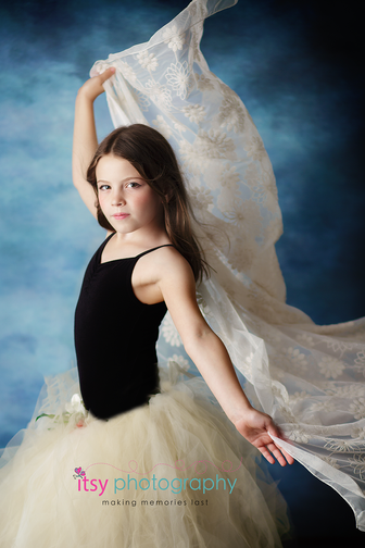Studio Photographer, ballerina, Photoshop, white tutu, black leotard , blue backdrop