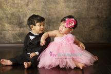 baby photographer, newborn photographer, infant photographer, dc photographer, 1 year old one year old posing ideas, twins, brown backdrop, tux, pink dress
