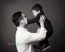 studio photography,  dad, toddler, big brother, black and white