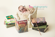 neborn photographer, baby photographer, harry potter, boy , baby, infant, head on hands pose, newborn posing ideas, white crib, cream blanket, white backdrop