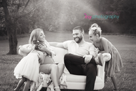 family photography, black and white, couch, outdoors,
