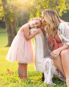 Maternity, pink maternity dress, daughters, outdoors, golden hour, couch