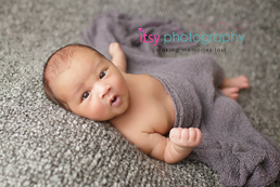Newborn photographer, baby photography, infant photography, newborn boy, grey blanket, grey wrap, eyes open, baby wrapping, newborn posing ideas