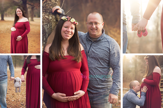Maternity photography, red dress, gown, flower crown, forest, golden hour, holding belly, maternity posing ideas, collage, dad, family, pregnancy