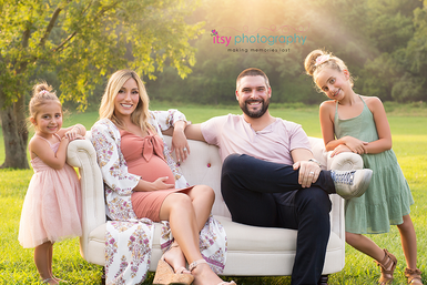 Maternity, pink maternity dress, daughters, , outdoors, golden hour, family, family photographer, maternity photographer, couch