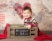 baby photographer, family photographer, dc photographer, ugly sweater pajamas, bear pajamas, heart backdrop, create, kisses 5 cents, red blanket baby boy, one year old, first birthday, baby posing ideas