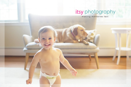 Family photographer, baby photographer, girl, in home, window light,  couch, dog