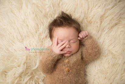 Newborn photographer, baby photographer, newborn, boy, infant,, newborn posing ideas, cream flokati, mowhawk, sleeping, brown fuzzy onsie