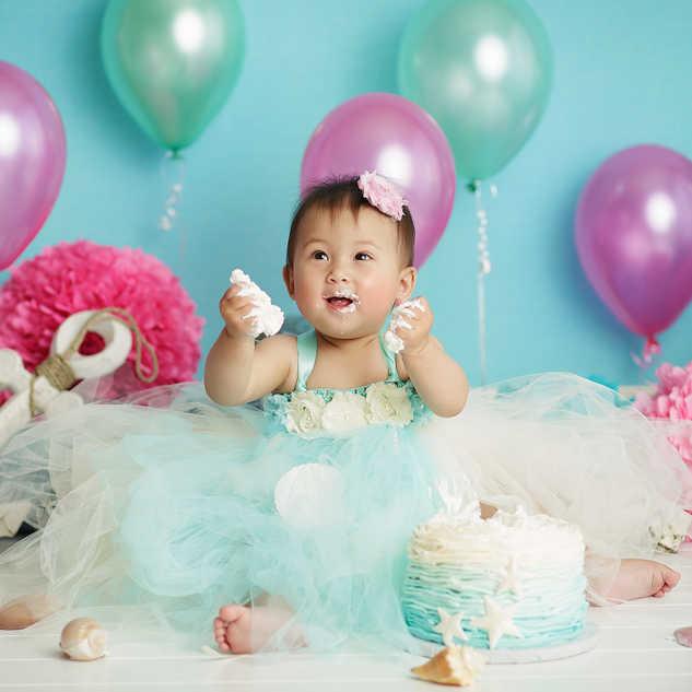 under the sea cake smash theme baby girl