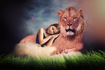 Studio Photographer, ballerina, posing ideas, Photoshop, lion