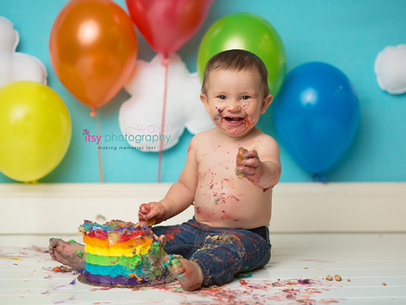Baby Andy's Rainbow Cake Smash~ MD, VA, DC Newborn Baby Photographer