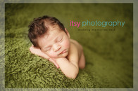 Newborn photographer, baby photography, infant photography, newborn boy, white wrap, baby, green flokati, head on hands pose