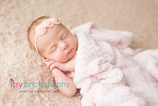 Newborn photographer, baby photography, infant photography, newborn girl, cream backdrop, floral headband,cream outfit,  sleeping,  newborn posing ideas, white blanket