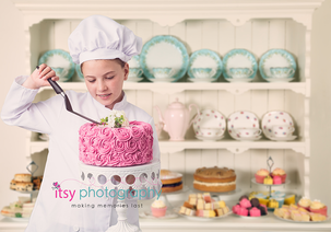 Itsy Photography, Professions, careers, when i grow up, dream job, pretend, Photoshop, composite image, baker, cake, digital backdrop, cakes, pasties, cookies, cupcakes