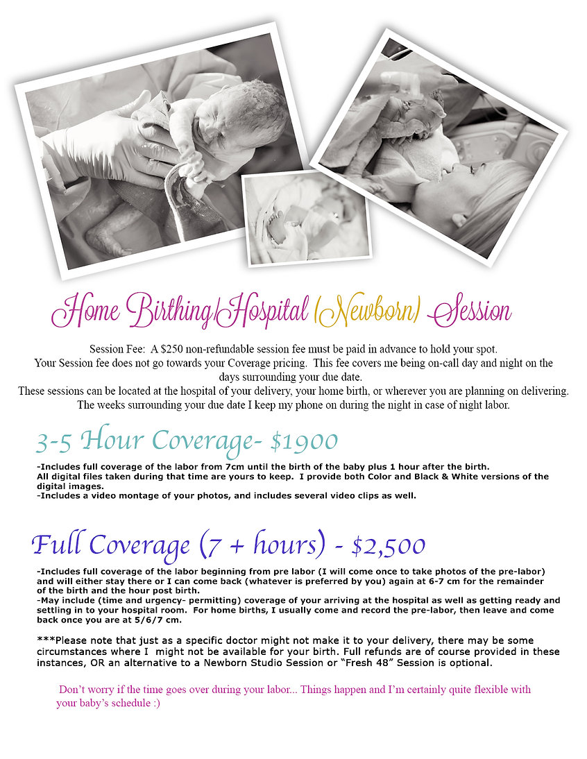 Itsy Birth Photography Session pricing c