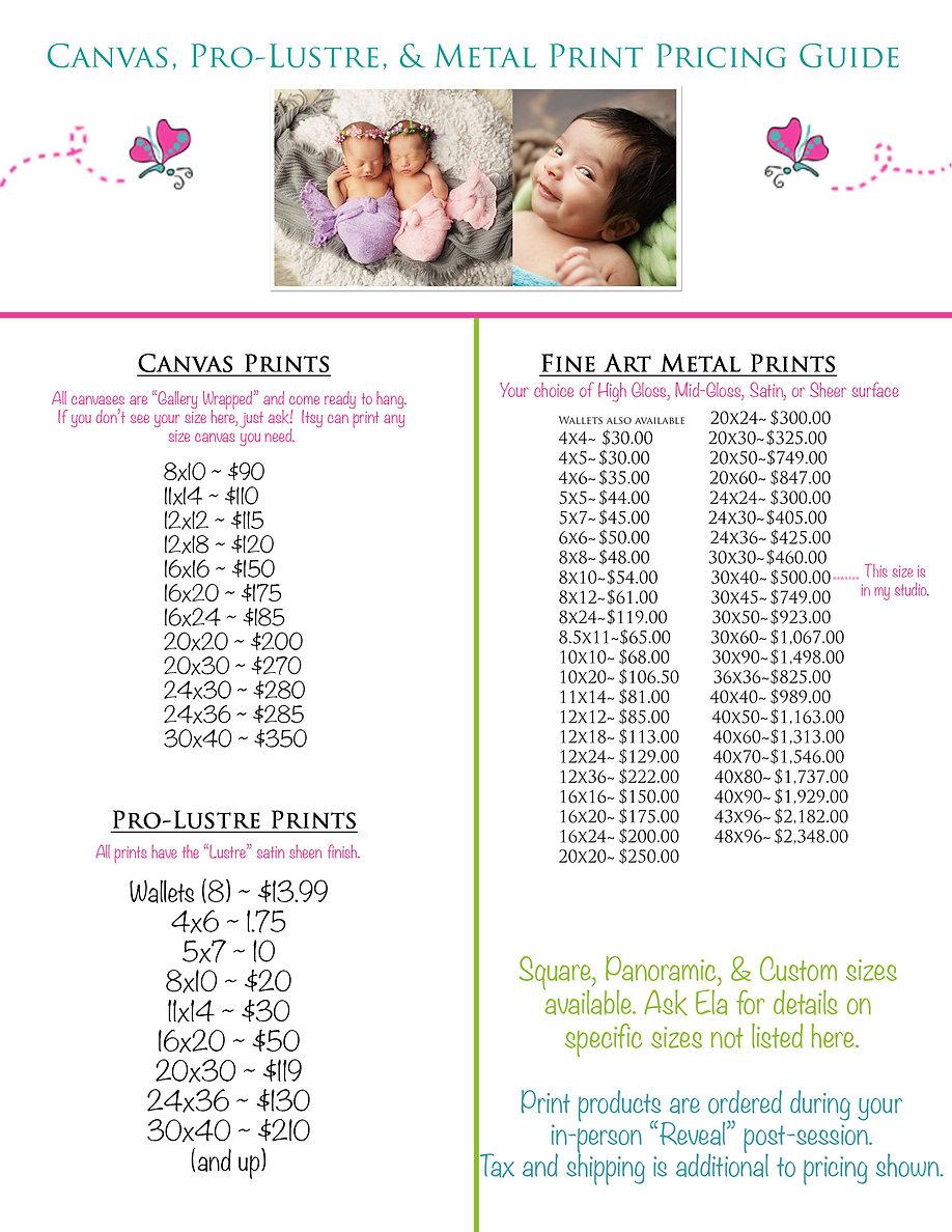 Canvas Metal Pro Lustre Print Pricing Gu
