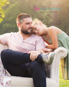 Family photography, father, and daughter, couch, outdoors,