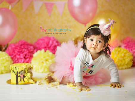 Baby Maggie's Monkey Cake Smash ~ Maryland, DC, VA Photographer
