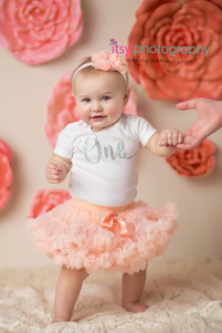 Newborn photographer, baby photography, infant photography, One year old, Sitter Session, Pink flowers, pink tutu, lace, happy birthday, cake smash, pink flower headband, baby girl