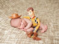 Newborn photographer, baby photography, infant photography, newborn boy, cream backdrop, newborn posing ideas, toy story, woody, cowboy