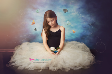 Studio Photographer, ballerina, Photoshop, butterfly, white tutu, black leotard