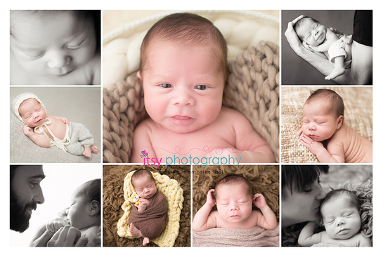 Newborn photographer, baby photography, infant photography, newborn girl,  tushy up pose, newborn posing ideas, collage, black and white