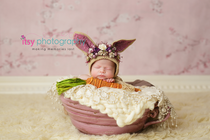 Newborn photographer, baby photography, infant photography, newborn girl, Bunny, carrot, pink bowl, floral backdrop. head on hands pose