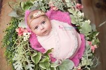 Newborn photographer, baby photography, infant photography, newborn girl, pink wrap,  pink blanket, flowers, eyes open, headband,