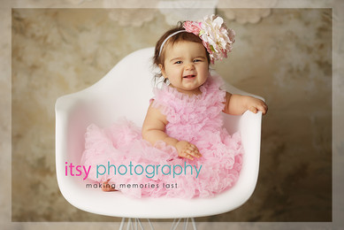 baby photographer, newborn photographer, infant photographer, dc photographer, 1 year old one year old posing ideas, pink dress, white chair, brown backdrop