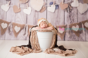 Newborn photographer, baby photography, infant photography, newborn girl, cream lace bonnet, lace, cream wrap , sequins, white bucket, neutral colors, ,  head on hands pose, newborn posing ideas , brown wrap, hear backdrop