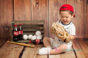Itsy Photography, Professions, careers, when i grow up, dream job, pretend, Photoshop, composite image, baseball player, coke, coca cola, bat, glove wood backdrop, create, baseball hat