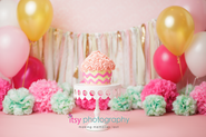 baby photographer,  baby girl, one year old, first birthday, cake smash, Giant cupcake, baloons, cake stand, pink, pink backdrop, rosette frosting