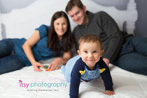 baby photographer, bed backdrop, family, mom, dad,  pajamas