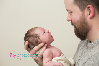 Newborn photographer, baby photography, infant photography, newborn girl, cream backdrop, dad and baby,  grey sweater