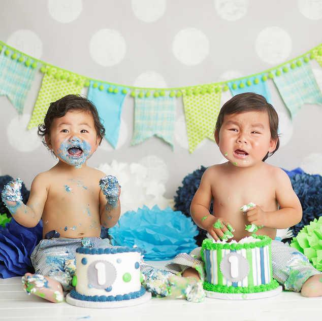 twins cake smash blue navy green twin bo