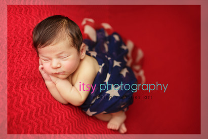 Newborn photographer, baby photography, infant photography, newborn boy, head on hands pose, new born posing ideas, red backdrop, patriotic, american flag