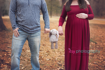 Maternity photography, red dress, gown,  forest, golden hour, maternity posing ideas, collage, dad, family, pregnancy, bunny stuffed animal