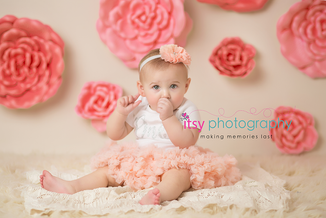 Newborn photographer, baby photography, infant photography, One year old, Sitter Session, Pink flowers, pink tutu, lace, happy birthday, cake smash, pink flower headband, sucking thumb, baby girl