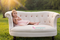 family photography,  couch, outdoors, daughter, golden hour
