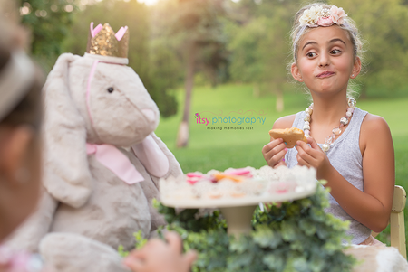 family photographer, tea party, outdoors, maternity , white maternity dress, golden hour, rabbit, alice in wonderland